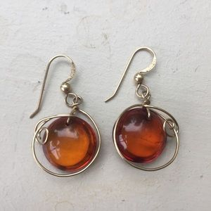 Amber earrings gold tone metal 1.5 inches long